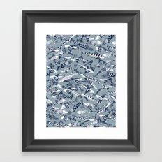 shark party blue Framed Art Print