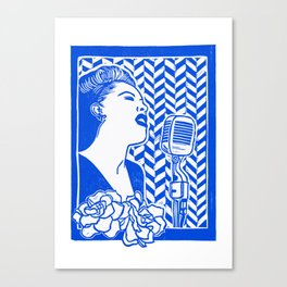 Lady Day (Billie Holiday block print) Canvas Print