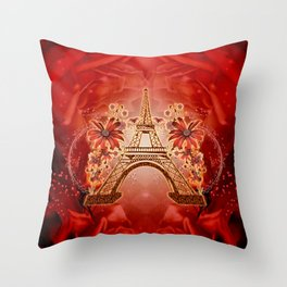 The eiffel tower with flowers Throw Pillow