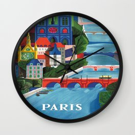 Paris Vintage Travel Poster Wall Clock