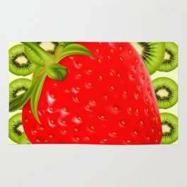 GREEN KIWI & RED STRAWBERRY ART Rug