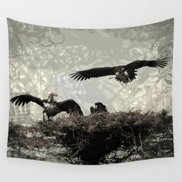 Vultures Building The Nest Wall Tapestry