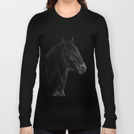 Black beauty Friesian stallion Long Sleeve T-shirt