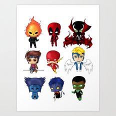 Chibi Heroes Set 2 Art Print