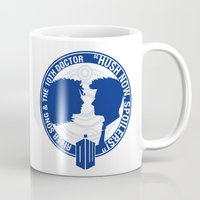 river song Mugs featuring Doctor Who pals: The 10th doctor & River Song by logoloco