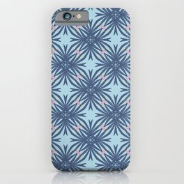 Langston dark blue geo floral with a hint of pink iPhone Case