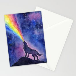 Galaxy Wolf Howling Rainbow Stationery Cards