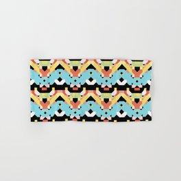 middle blue and terra cotta colors retro geometric pattern Hand & Bath Towel