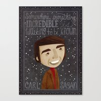 carl sagan Canvas Prints featuring Carl Sagan by Stephanie Fizer Coleman