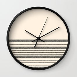 Textured Mesh Stripes Cuff in Black and Almond Cream Wall Clock