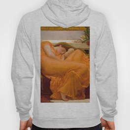 Flaming June Oil Painting by Frederic Lord Leighton Hoody