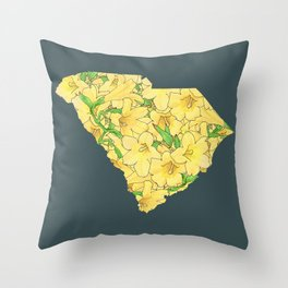 South Carolina in Flowers Throw Pillow