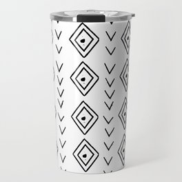 mudcloth 9 minimal textured black and white pattern home decor minimalist beach Travel Mug