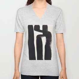 Mid Century Modern Minimalist Abstract Art Brush Strokes Black & White Ink Art Ancient Stripes Unisex V-Neck