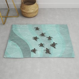 Loggerhead sea turtle hatchlings Rug