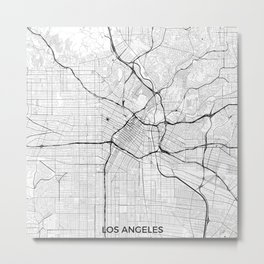 Los Angeles Map Gray Metal Print