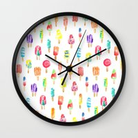 popsicle Wall Clocks featuring Popsicle by Golden Girl Art