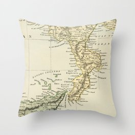 Vintage Retro Map Southern Italy Throw Pillow