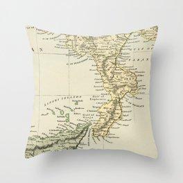 Vintage Retro Map Southern Italy Throw Pillow