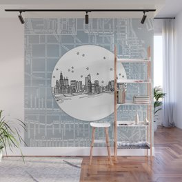 Chicago, Illinois City Skyline Illustration Drawing Wall Mural