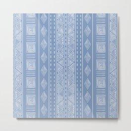 Baby Blue Ethnic Tribal Style Pattern | Sun Illustration | Vertical Geometric Print Metal Print