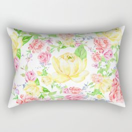Bouquet of PINK, RED & YELLOW rose - wreath Rectangular Pillow