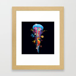 Super Electric Jellyfish with Seahorse and Fish Framed Art Print