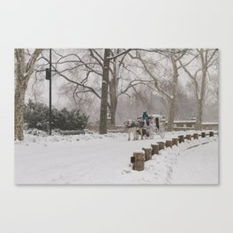 Snow Day Carriage Ride Through Central Park Canvas Print