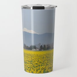DAFFODIL FIELD AND MOUNT BAKER IN THE SKAGIT VALLEY  Travel Mug