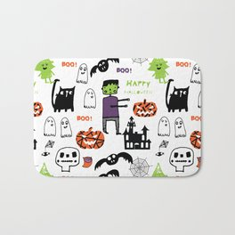 Cute Frankenstein and friends white #halloween Bath Mat