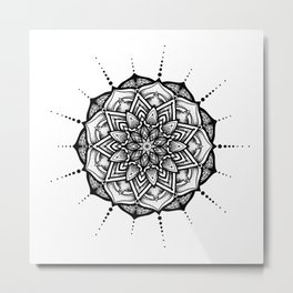 Organic Black Mandala Metal Print