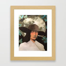 Portrait of A Southwestern Traveler with The Moon & Geometric Shapes In The Background Framed Art Print