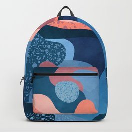Terrazzo galaxy blue wave pink Backpack
