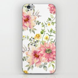 Watercolor Pink and Yelow Flowers with Green Leaves iPhone Skin