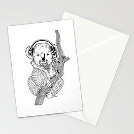 koala loves music Stationery Cards