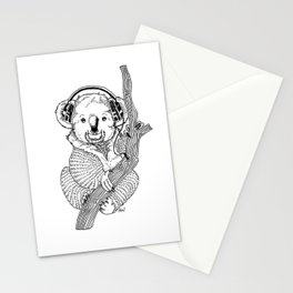 koala loves music Stationery Cards