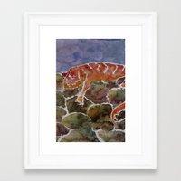 lizard Framed Art Prints featuring lizard by rysunki-malunki