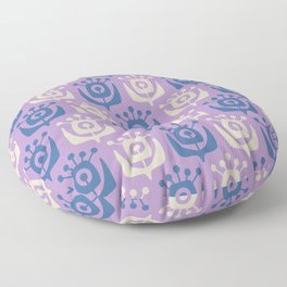 Mid Century Modern Retro Flower Pattern Lavender and Blue 931 Floor Pillow