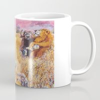 vegetarian Mugs featuring vegetarian lion by Rose Rigden