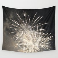 fireworks Wall Tapestries featuring Fireworks by jennpar