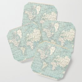 World Map in Blue and Cream Coaster