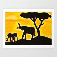 African Elephant Safari Art Print