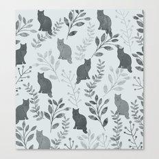Watercolor Floral and Cat VI Canvas Print