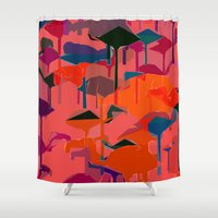 flamingos Shower Curtains featuring flamingos  by Emma Stein