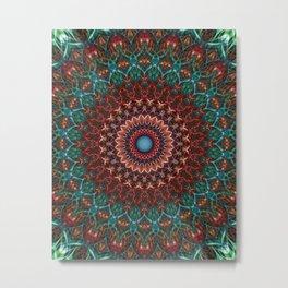 Turquoise and red mandala Metal Print