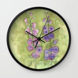 Hollyhock Foxglove Watercolor Muted Tones Wall Clock