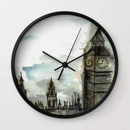 Big Ben on a Cloudy Day Wall Clock