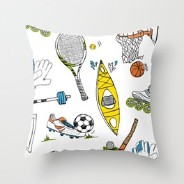 Sports illustrated - black and white drawing color accents Throw Pillow