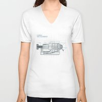 blueprint V-neck T-shirts featuring The Z-Machinery - Technical Blueprint by SHIO-Z