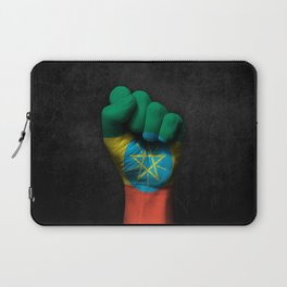 Ethiopian Flag on a Raised Clenched Fist Laptop Sleeve